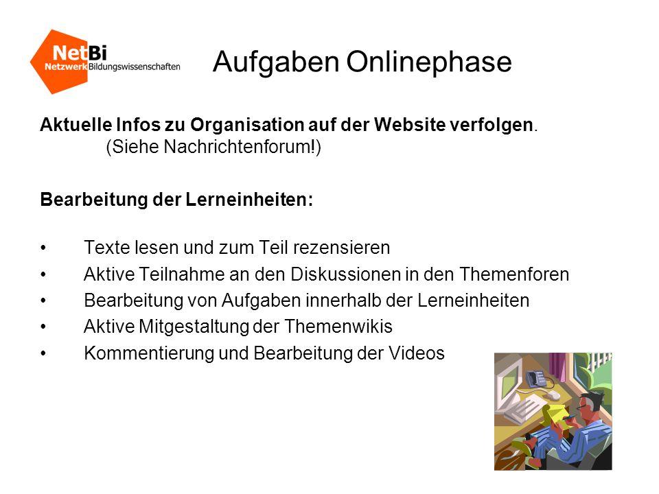 Aufgaben Onlinephase Aktuelle Infos zu Organisation auf der Website verfolgen.