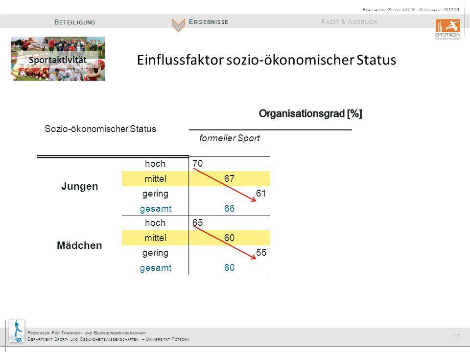 P ROFESSUR F ÜR T RAININGS - UND B EWEGUNGSWISSENSCHAFT D EPARTMENT S PORT - UND G ESUNDHEITSWISSENSCHAFTEN – U NIVERSITÄT P OTSDAM E RGEBNISSE B ETEILIGUNG F AZIT & A USBLICK E VALUATION S PORT JST 3 – S CHULJAHR 2013/14 17 Sozio-ökonomischer Status formeller SportSportvereinSport-AG Jungen hoch705628 mittel674934 gering614628 gesamt665030 Mädchen hoch655026 mittel6035 gering553628 gesamt604030 Einflussfaktor sozio-ökonomischer Status Sportaktivität