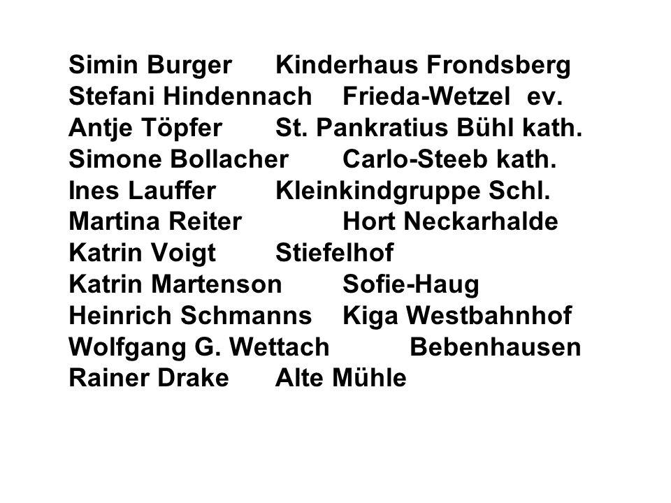 Simin BurgerKinderhaus Frondsberg Stefani HindennachFrieda-Wetzel ev. Antje TöpferSt. Pankratius Bühl kath. Simone BollacherCarlo-Steeb kath. Ines Lau