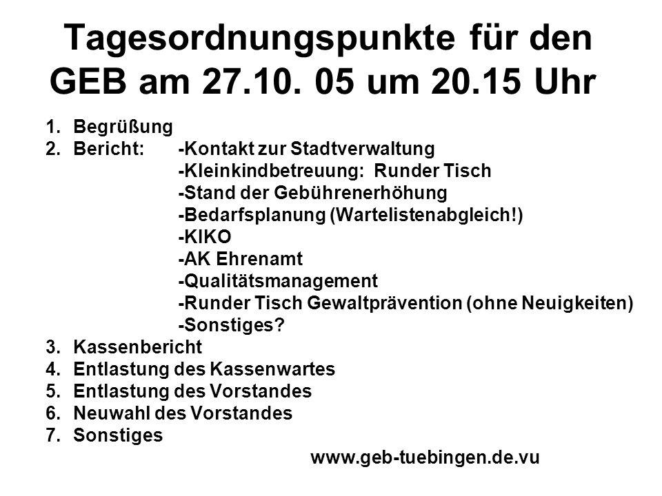Tagesordnungspunkte für den GEB am 27.10. 05 um 20.15 Uhr 1.Begrüßung 2.Bericht: -Kontakt zur Stadtverwaltung -Kleinkindbetreuung: Runder Tisch -Stand