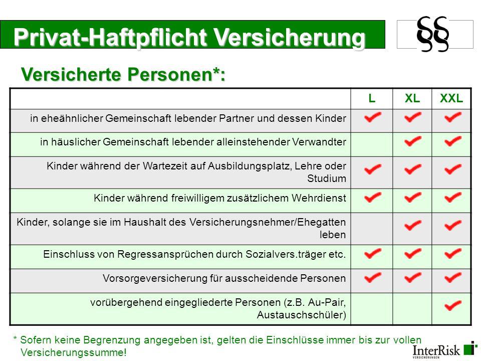 Privat-Haftpflicht Versicherung LXLXXL Kraftfahrzeuge auf nicht öffentlichen Wegen ohne Höchstgeschwindigkeit selbstfahrende Arbeitsmaschinen bis 20 km/h motorgetriebene Kinderfahrzeuge, Golfwagen etc.