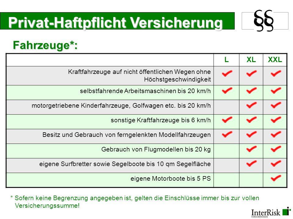 Privat-Haftpflicht Versicherung LXLXXL Kraftfahrzeuge auf nicht öffentlichen Wegen ohne Höchstgeschwindigkeit selbstfahrende Arbeitsmaschinen bis 20 k