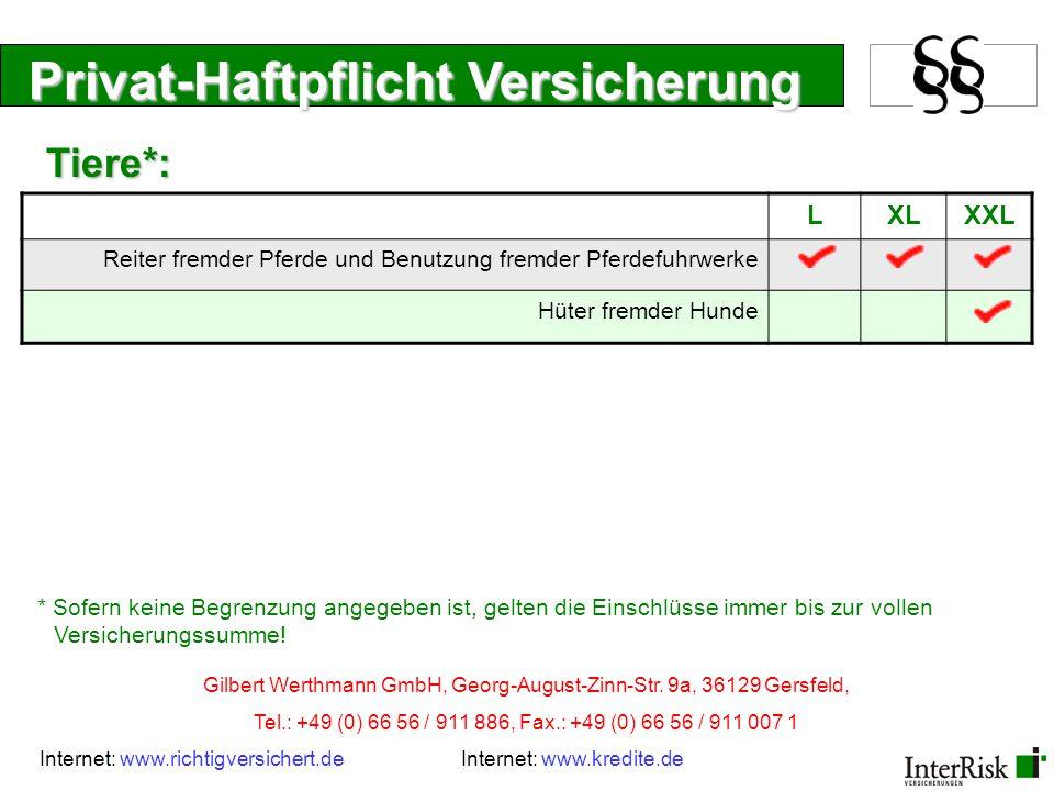 Privat-Haftpflicht Versicherung LXLXXL Ein und Zweifamilienhaus (mind.