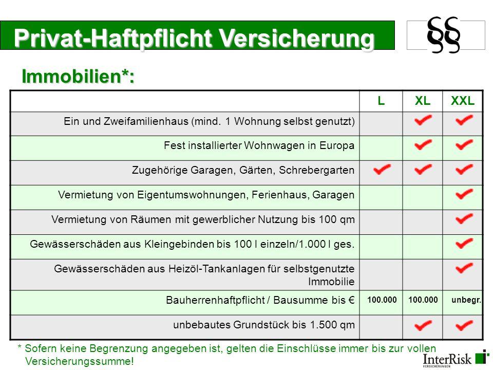 Privat-Haftpflicht Versicherung LXLXXL Ein und Zweifamilienhaus (mind. 1 Wohnung selbst genutzt) Fest installierter Wohnwagen in Europa Zugehörige Gar
