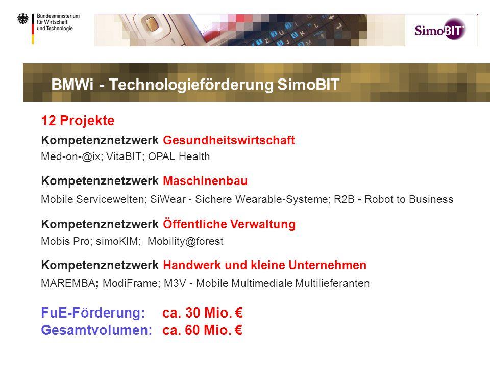 .. 12 Projekte Kompetenznetzwerk Gesundheitswirtschaft Med-on-@ix; VitaBIT; OPAL Health Kompetenznetzwerk Maschinenbau Mobile Servicewelten; SiWear -