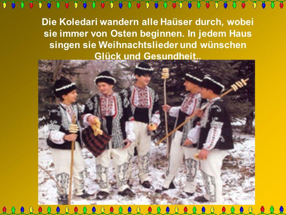 Die Koledari wandern alle Haüser durch, wobei sie immer von Osten beginnen. In jedem Haus singen sie Weihnachtslieder und wünschen Glück und Gesundhei