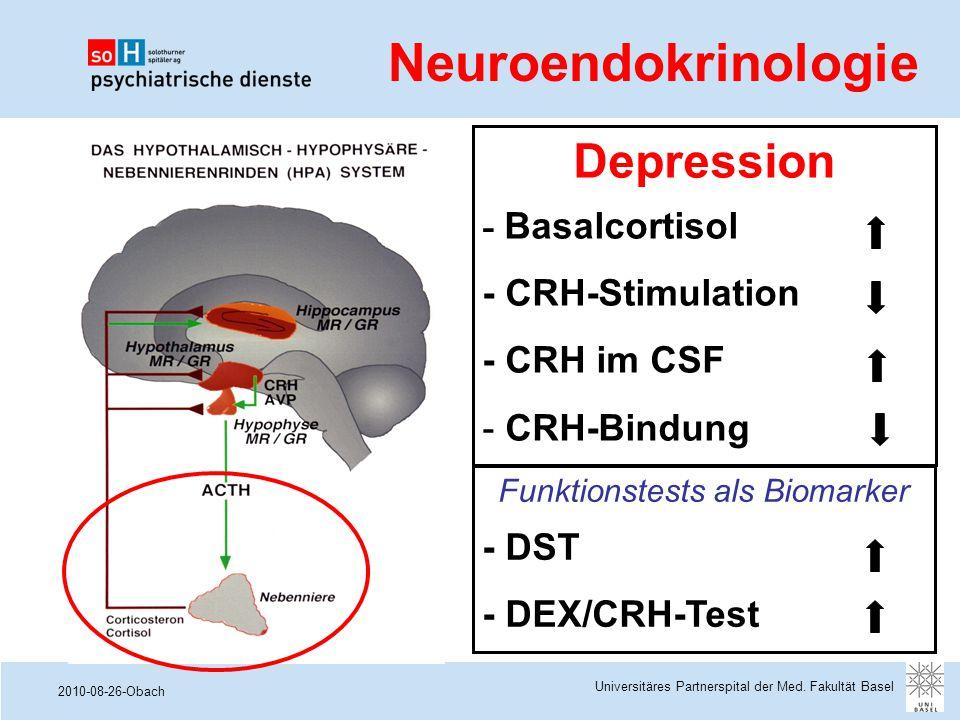 2010-08-26-Obach Universitäres Partnerspital der Med. Fakultät Basel Neuroendokrinologie Funktionstests als Biomarker - DST - DEX/CRH-Test Depression