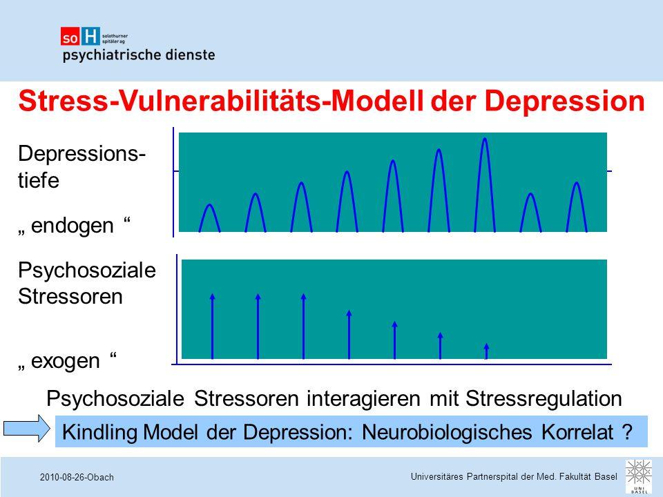 """2010-08-26-Obach Psychosoziale Stressoren interagieren mit Stressregulation Depressions- tiefe """" endogen """" Psychosoziale Stressoren """" exogen """" Stress-"""
