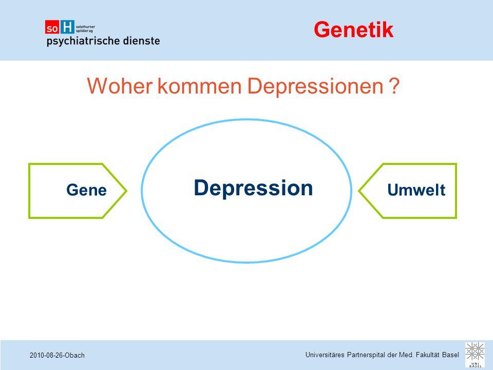 2010-08-26-Obach Woher kommen Depressionen ? Depression GeneUmwelt Genetik Universitäres Partnerspital der Med. Fakultät Basel
