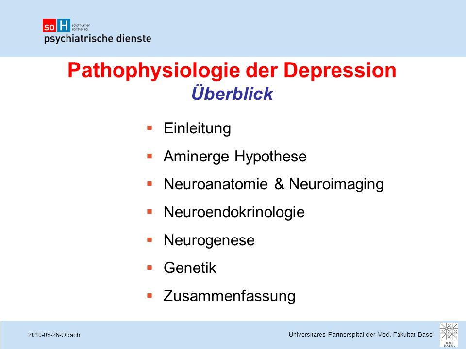 2010-08-26-Obach Pathophysiologie der Depression Überblick  Einleitung  Aminerge Hypothese  Neuroanatomie & Neuroimaging  Neuroendokrinologie  Ne