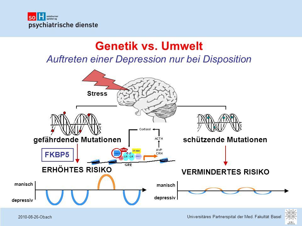 2010-08-26-Obach Genetik vs. Umwelt Auftreten einer Depression nur bei Disposition ERHÖHTES RISIKO VERMINDERTES RISIKO manisch depressiv manisch depre