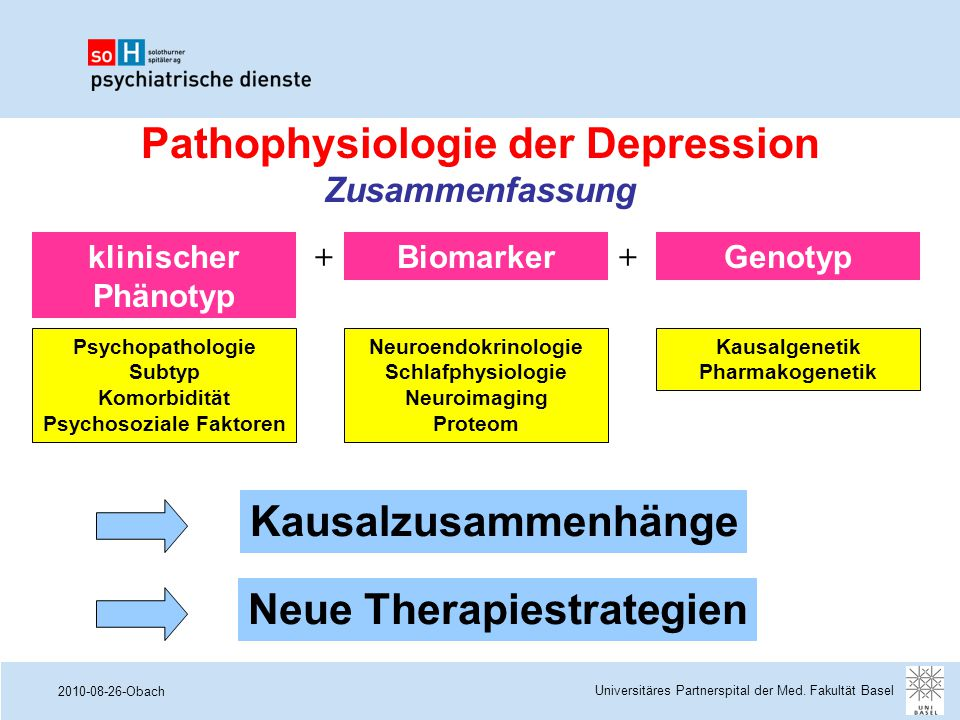2010-08-26-Obach Kausalzusammenhänge Neue Therapiestrategien Pathophysiologie der Depression Zusammenfassung Universitäres Partnerspital der Med. Faku