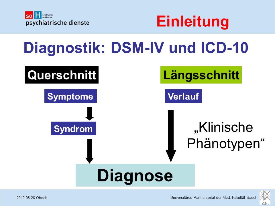 """2010-08-26-Obach Diagnostik: DSM-IV und ICD-10 Symptome Syndrom QuerschnittLängsschnitt Verlauf Diagnose """"Klinische Phänotypen"""" Universitäres Partners"""