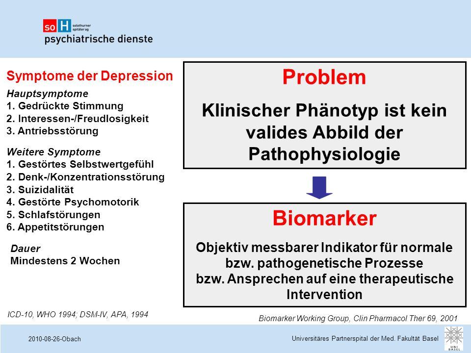 2010-08-26-Obach Symptome der Depression Hauptsymptome 1. Gedrückte Stimmung 2. Interessen-/Freudlosigkeit 3. Antriebsstörung Weitere Symptome 1. Gest
