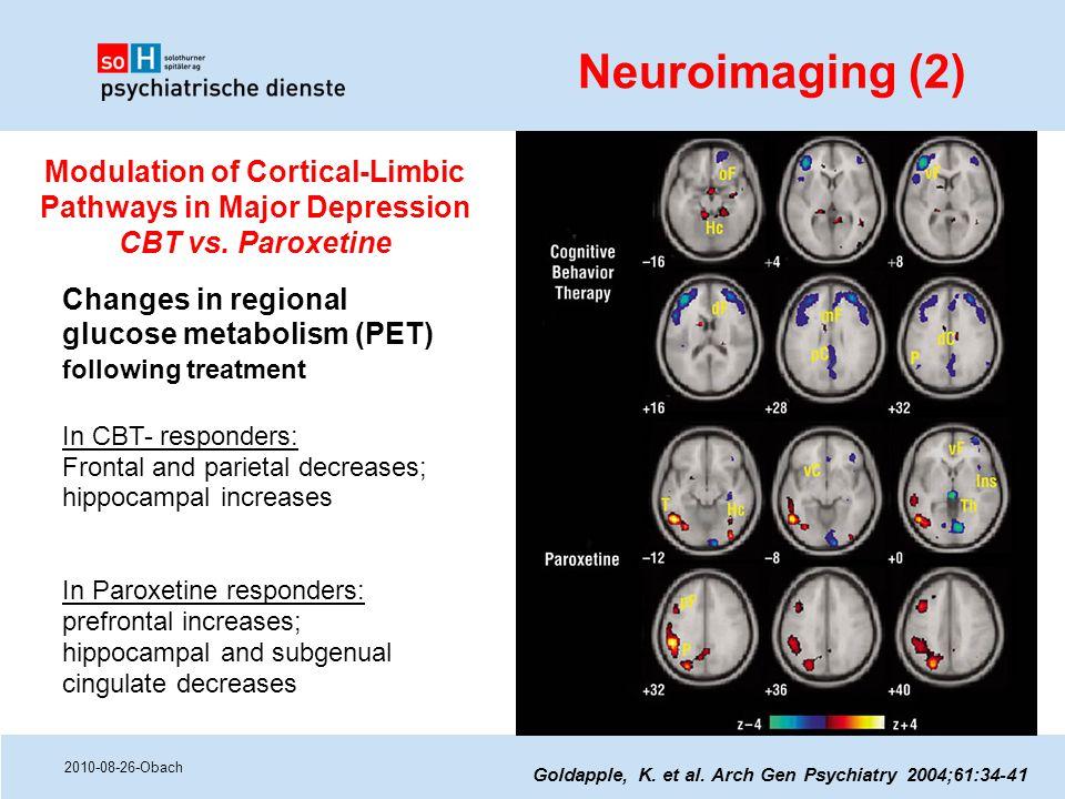 2010-08-26-Obach Goldapple, K. et al. Arch Gen Psychiatry 2004;61:34-41 Changes in regional glucose metabolism (PET) following treatment In CBT- respo