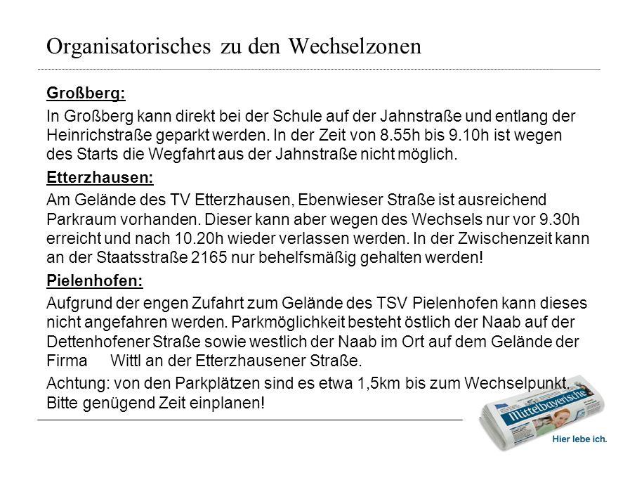 Organisatorisches zu den Wechselzonen Großberg: In Großberg kann direkt bei der Schule auf der Jahnstraße und entlang der Heinrichstraße geparkt werde