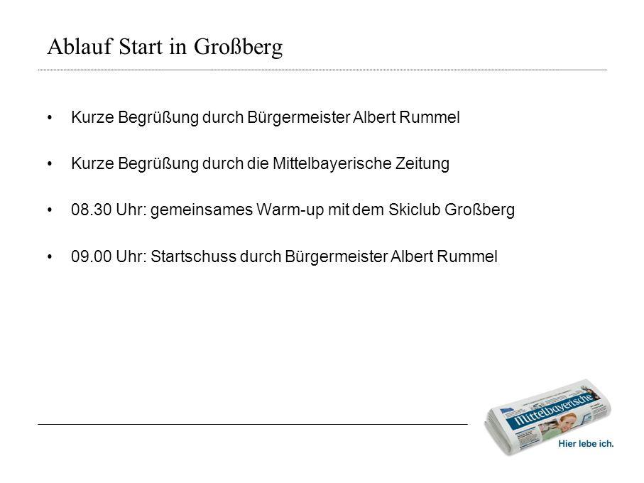 Ablauf Start in Großberg • Kurze Begrüßung durch Bürgermeister Albert Rummel • Kurze Begrüßung durch die Mittelbayerische Zeitung • 08.30 Uhr: gemeins