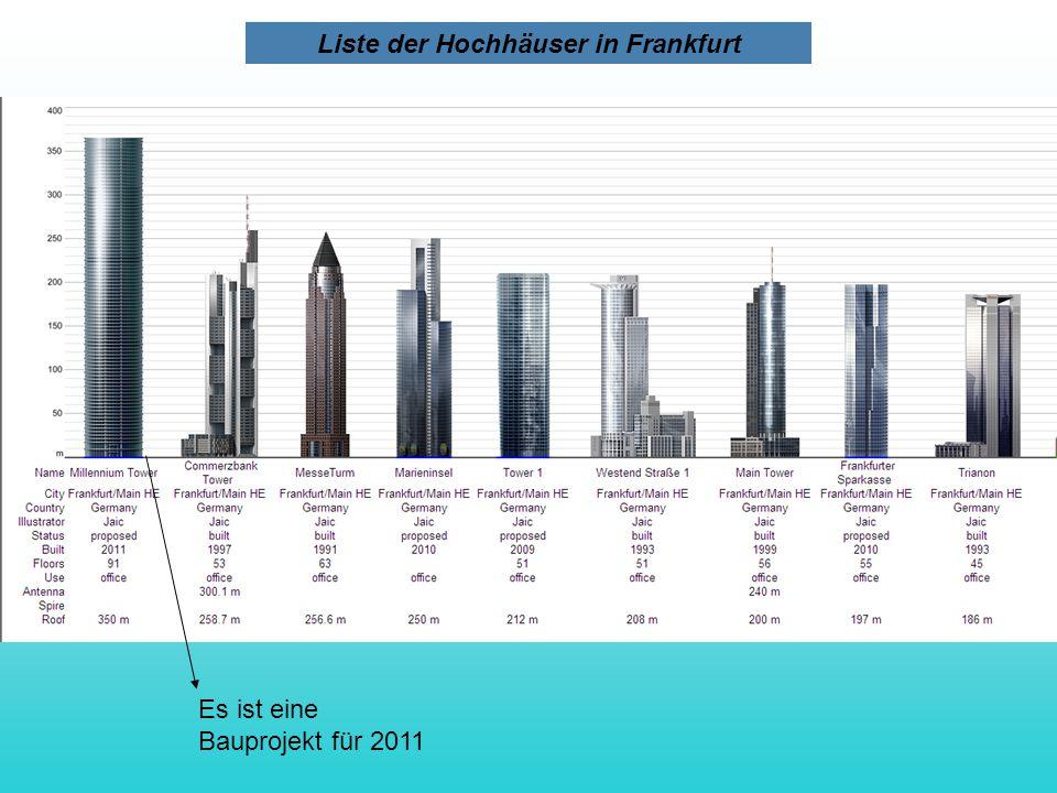 Es ist eine Bauprojekt für 2011 Liste der Hochhäuser in Frankfurt
