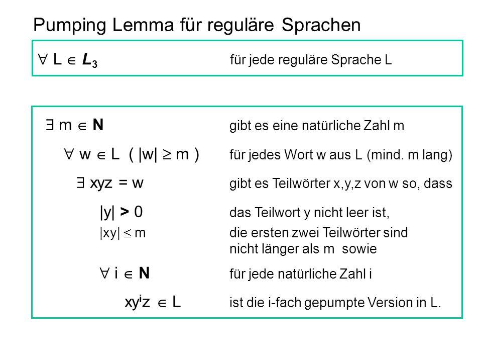 Pumping Lemma für reguläre Sprachen  m  N gibt es eine natürliche Zahl m  w  L ( |w|  m ) für jedes Wort w aus L (mind. m lang)  xyz = w gibt es
