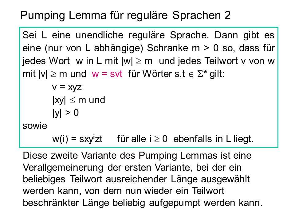 Pumping Lemma für reguläre Sprachen 2 Sei L eine unendliche reguläre Sprache. Dann gibt es eine (nur von L abhängige) Schranke m > 0 so, dass für jede
