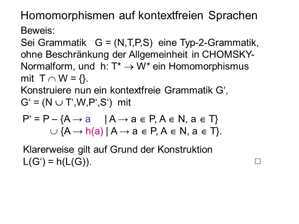 Homomorphismen auf kontextfreien Sprachen Beweis: Sei Grammatik G = (N,T,P,S) eine Typ-2-Grammatik, ohne Beschränkung der Allgemeinheit in CHOMSKY- No