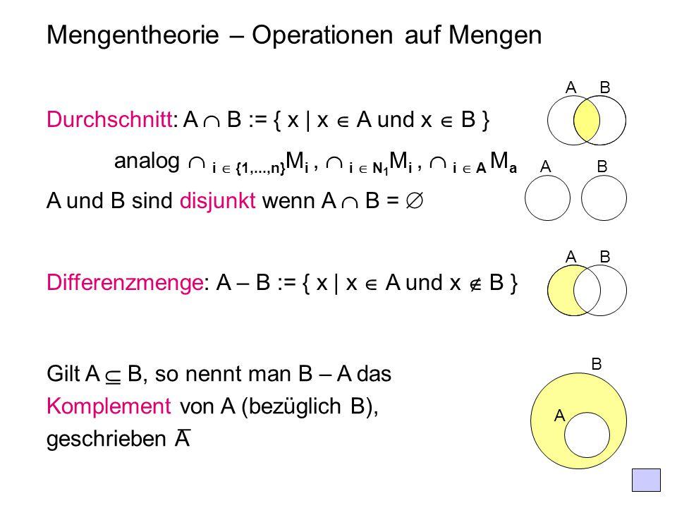 Mengentheorie – Operationen auf Mengen Durchschnitt: A  B := { x | x  A und x  B } analog  i  {1,...,n} M i,  i  N 1 M i,  i  A M a A und B s