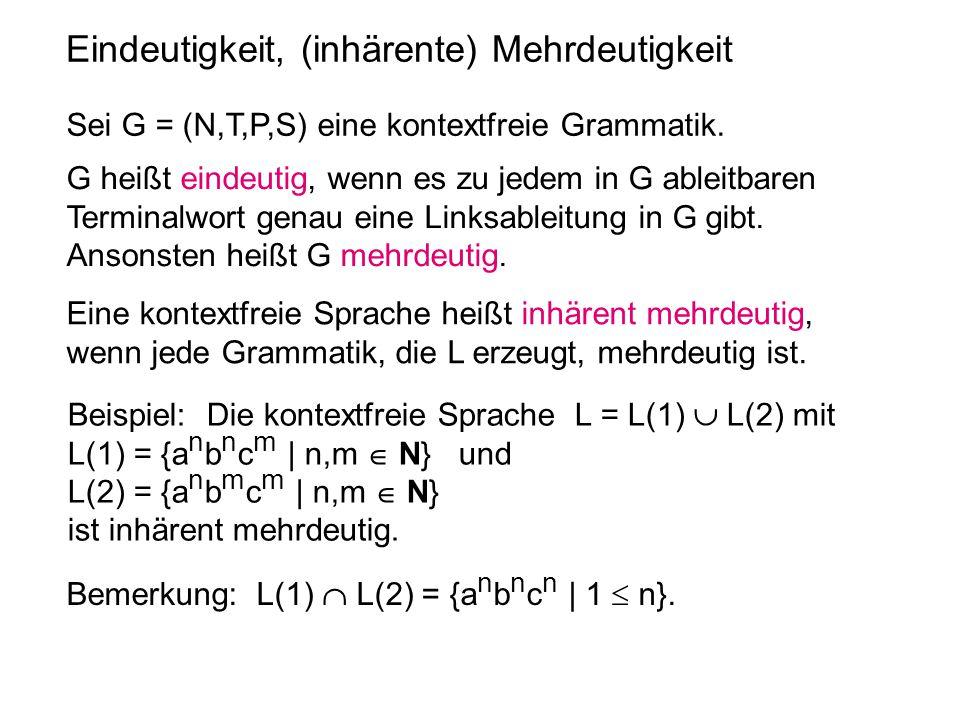 Eindeutigkeit, (inhärente) Mehrdeutigkeit Sei G = (N,T,P,S) eine kontextfreie Grammatik. G heißt eindeutig, wenn es zu jedem in G ableitbaren Terminal