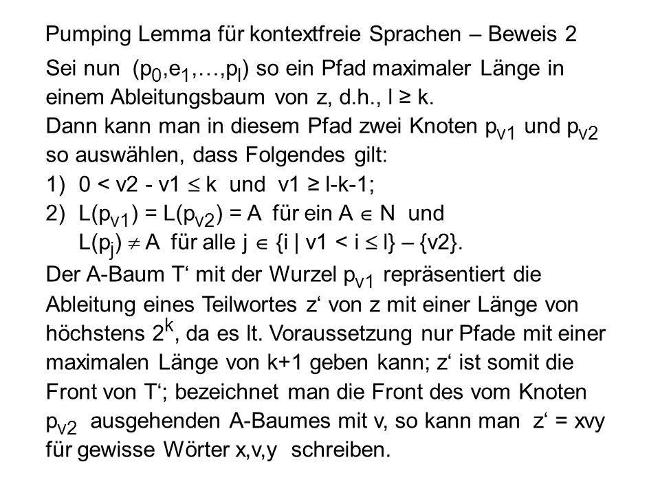 Pumping Lemma für kontextfreie Sprachen – Beweis 2 Sei nun (p 0,e 1,…,p l ) so ein Pfad maximaler Länge in einem Ableitungsbaum von z, d.h., l ≥ k. Da