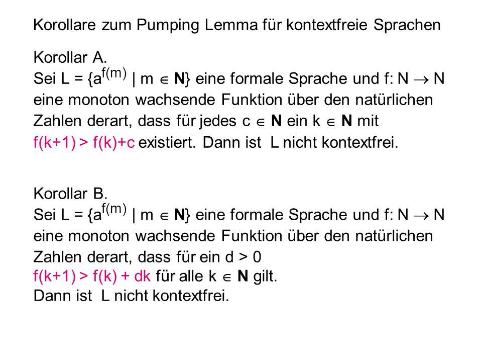 Korollare zum Pumping Lemma für kontextfreie Sprachen Korollar A. Sei L = {a f(m) | m  N} eine formale Sprache und f: N  N eine monoton wachsende Fu