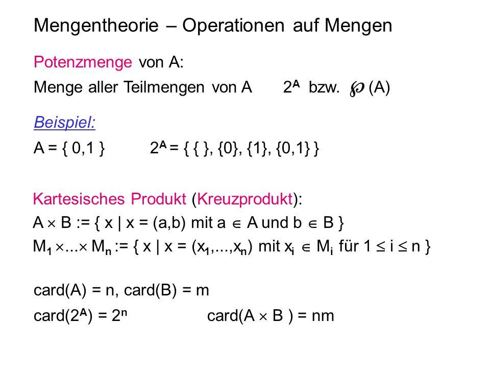 Mengentheorie – Operationen auf Mengen Kartesisches Produkt (Kreuzprodukt): A  B := { x | x = (a,b) mit a  A und b  B } M 1 ...  M n := { x | x =
