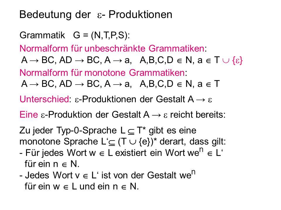 Bedeutung der  - Produktionen Grammatik G = (N,T,P,S): Normalform für monotone Grammatiken: A → BC, AD → BC, A → a, A,B,C,D  N, a  T Normalform für
