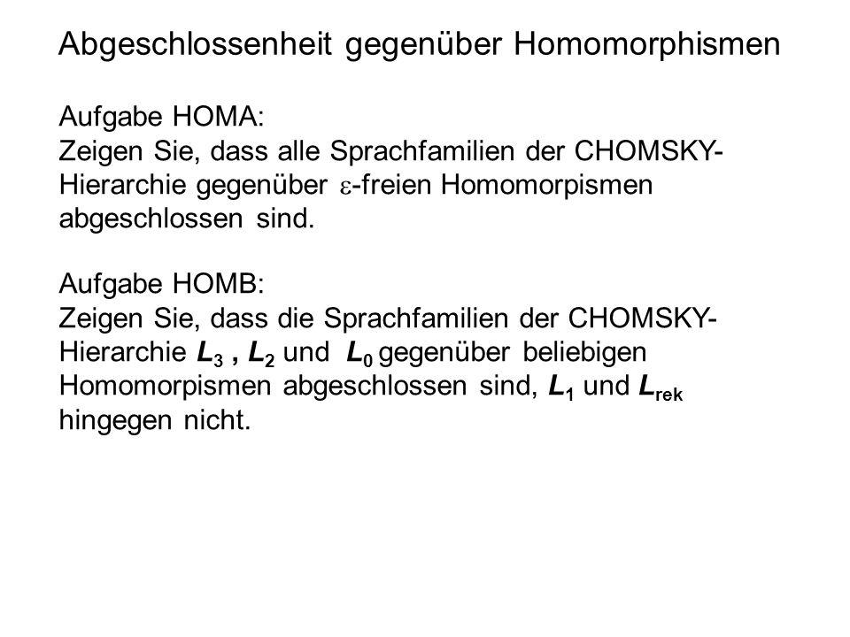 Abgeschlossenheit gegenüber Homomorphismen Aufgabe HOMA: Zeigen Sie, dass alle Sprachfamilien der CHOMSKY- Hierarchie gegenüber  -freien Homomorpisme