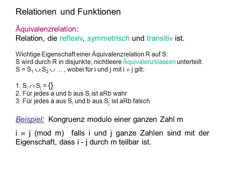 Relationen und Funktionen Äquivalenzrelation: Relation, die reflexiv, symmetrisch und transitiv ist. Wichtige Eigenschaft einer Äquivalenzrelation R a