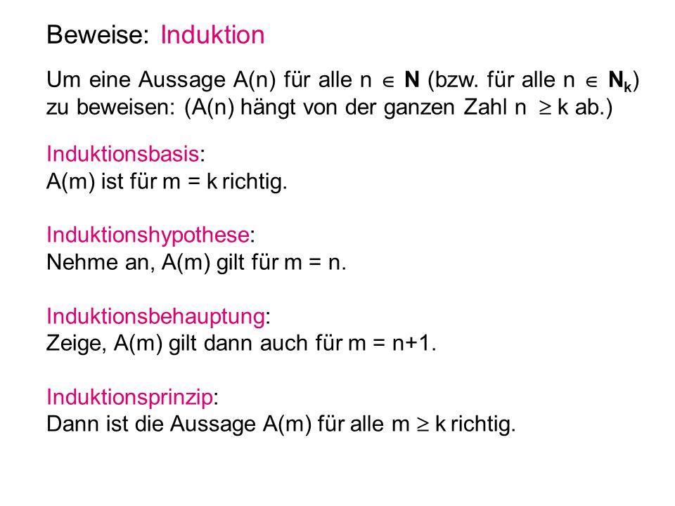 Beweise: Induktion Um eine Aussage A(n) für alle n  N (bzw. für alle n  N k ) zu beweisen: (A(n) hängt von der ganzen Zahl n  k ab.) Induktionsbasi