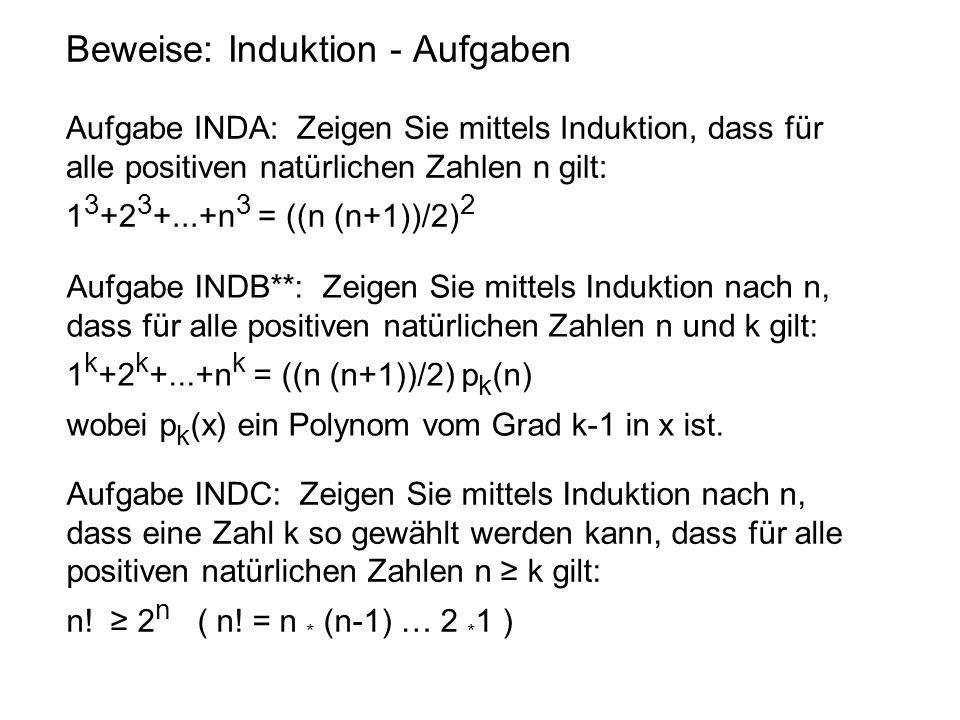 Beweise: Induktion - Aufgaben Aufgabe INDA: Zeigen Sie mittels Induktion, dass für alle positiven natürlichen Zahlen n gilt: 1 3 +2 3 +...+n 3 = ((n (