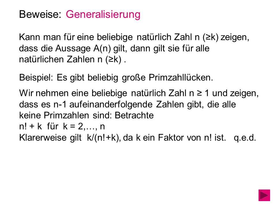 Beweise: Generalisierung Kann man für eine beliebige natürlich Zahl n (≥k) zeigen, dass die Aussage A(n) gilt, dann gilt sie für alle natürlichen Zahl