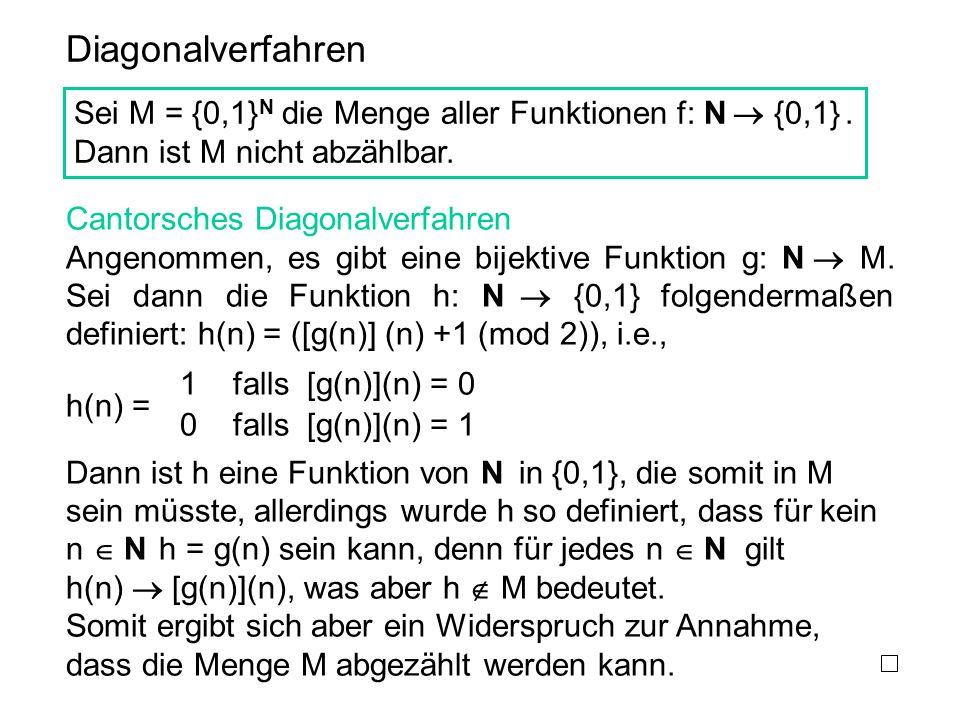 Diagonalverfahren Sei M = {0,1} N die Menge aller Funktionen f: N  {0,1}. Dann ist M nicht abzählbar. Cantorsches Diagonalverfahren Angenommen, es gi