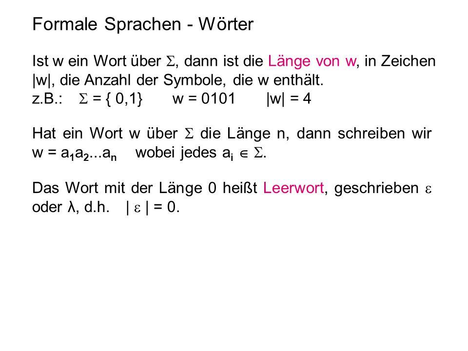 Formale Sprachen - Wörter Ist w ein Wort über , dann ist die Länge von w, in Zeichen |w|, die Anzahl der Symbole, die w enthält. z.B.:  = { 0,1} w =