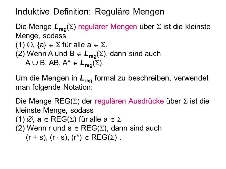 Induktive Definition: Reguläre Mengen Die Menge L reg (  ) regulärer Mengen über  ist die kleinste Menge, sodass (1) , {a}   für alle a  . (2)