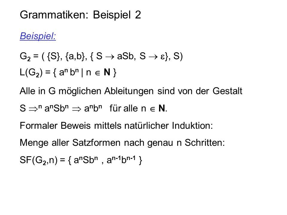 Grammatiken: Beispiel 2 Beispiel: G 2 = ( {S}, {a,b}, { S  aSb, S   }, S) L(G 2 ) = { a n b n | n  N } Alle in G möglichen Ableitungen sind von de