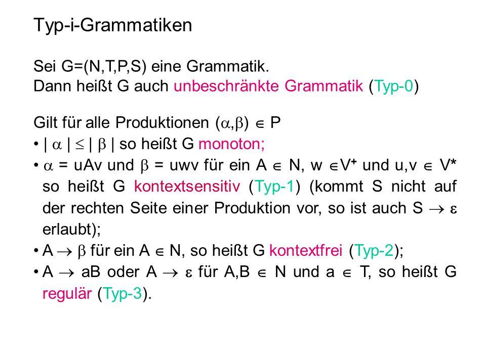 Typ-i-Grammatiken Sei G=(N,T,P,S) eine Grammatik. Dann heißt G auch unbeschränkte Grammatik (Typ-0) Gilt für alle Produktionen ( ,  )  P • |  | 