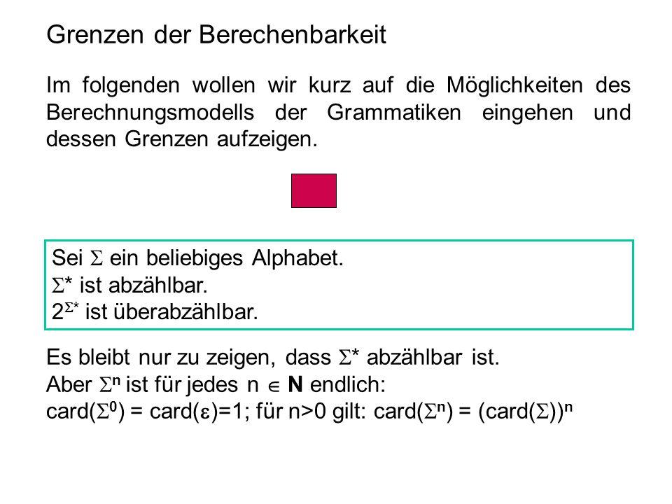 Grenzen der Berechenbarkeit Im folgenden wollen wir kurz auf die Möglichkeiten des Berechnungsmodells der Grammatiken eingehen und dessen Grenzen aufz