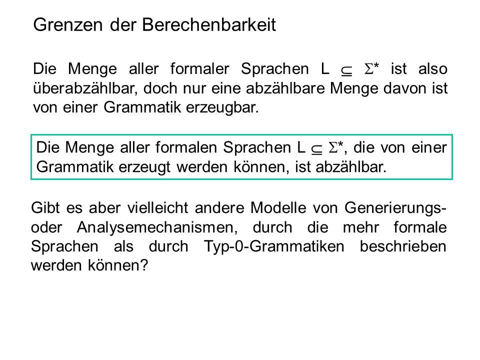 Grenzen der Berechenbarkeit Die Menge aller formaler Sprachen L   * ist also überabzählbar, doch nur eine abzählbare Menge davon ist von einer Gramm