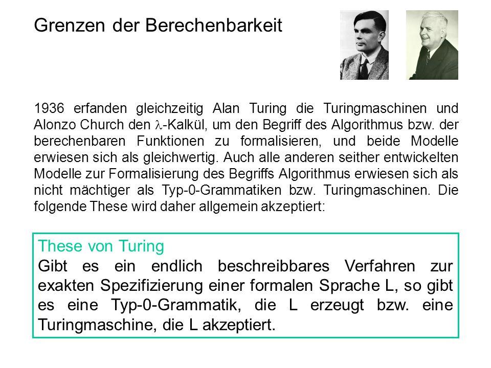 Grenzen der Berechenbarkeit 1936 erfanden gleichzeitig Alan Turing die Turingmaschinen und Alonzo Church den  -Kalkül, um den Begriff des Algorithmus