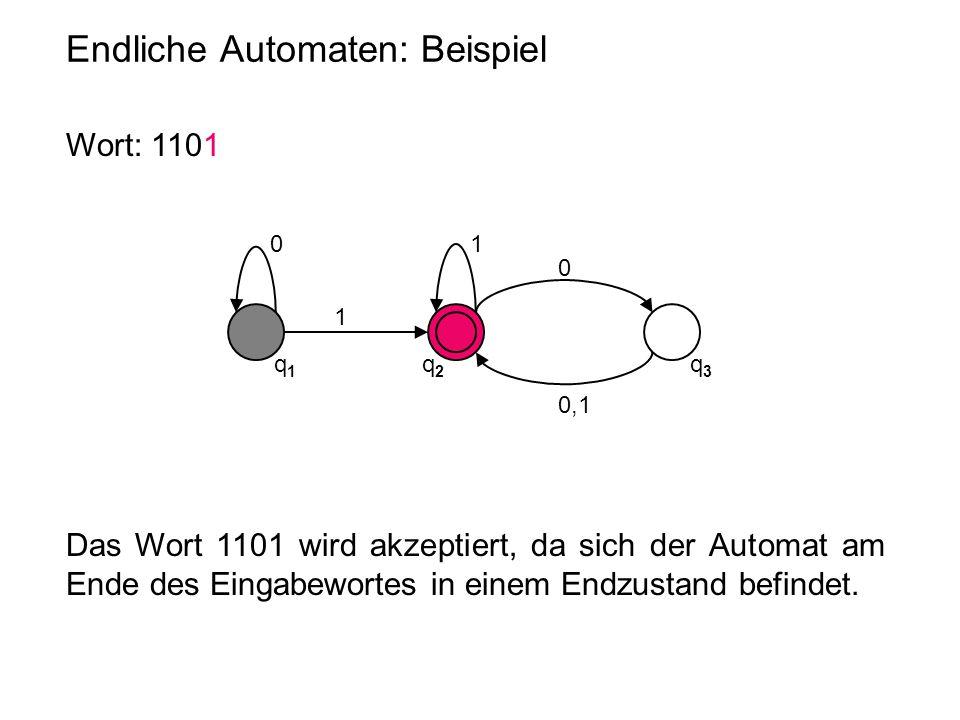 Endliche Automaten: Beispiel 0 q1q1 q2q2 q3q3 1 1 0 0,1 Wort: 1101 Das Wort 1101 wird akzeptiert, da sich der Automat am Ende des Eingabewortes in ein