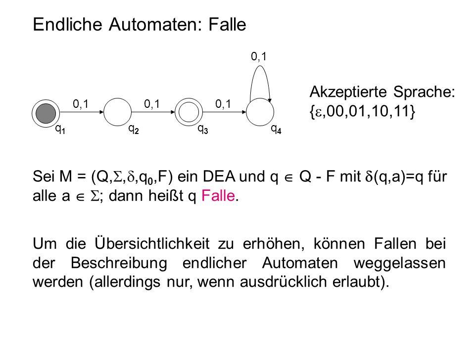 Endliche Automaten: Falle Sei M = (Q, , ,q 0,F) ein DEA und q  Q - F mit  (q,a)=q für alle a   ; dann heißt q Falle. Um die Übersichtlichkeit zu