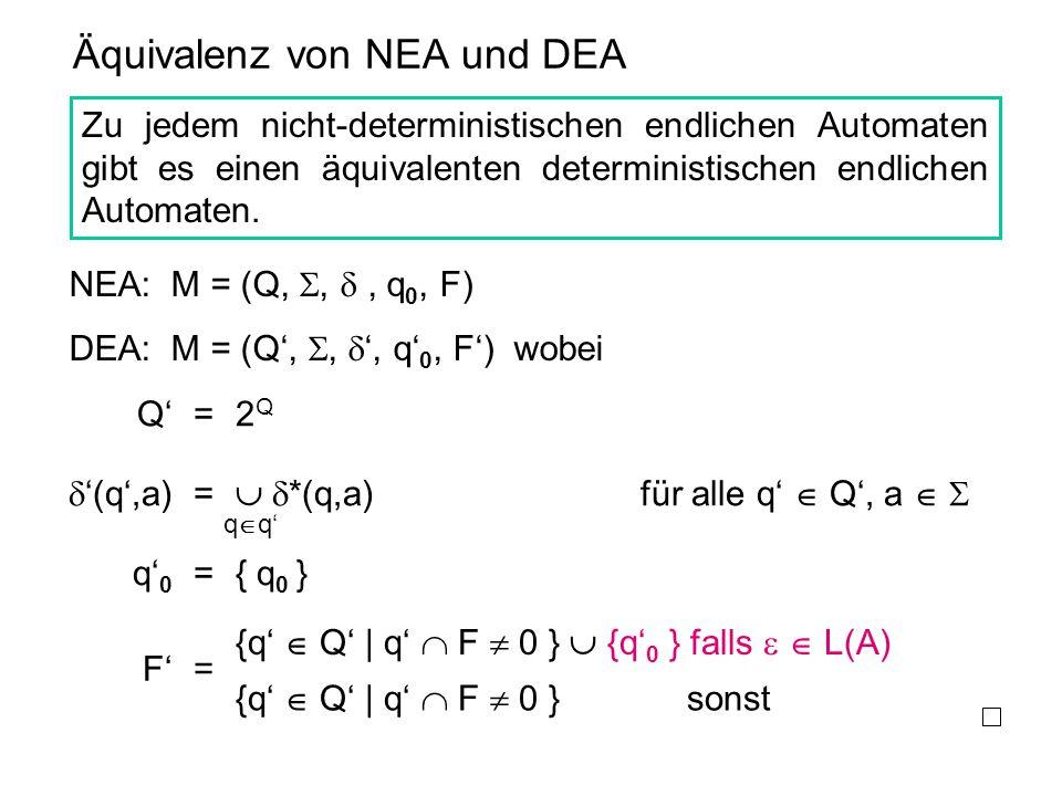 Äquivalenz von NEA und DEA Zu jedem nicht-deterministischen endlichen Automaten gibt es einen äquivalenten deterministischen endlichen Automaten. NEA: