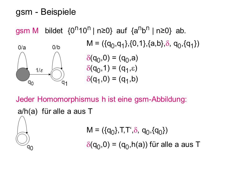 gsm - Beispiele gsm M bildet {0 n 10 n | n≥0} auf {a n b n | n≥0} ab. q0q0 q1q1 0/b 1/  0/a q0q0 a/h(a) für alle a aus T Jeder Homomorphismus h ist e