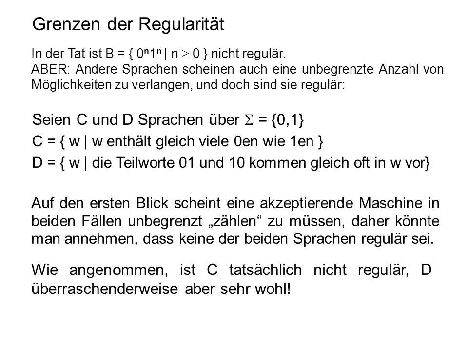 Grenzen der Regularität In der Tat ist B = { 0 n 1 n | n  0 } nicht regulär. ABER: Andere Sprachen scheinen auch eine unbegrenzte Anzahl von Möglichk