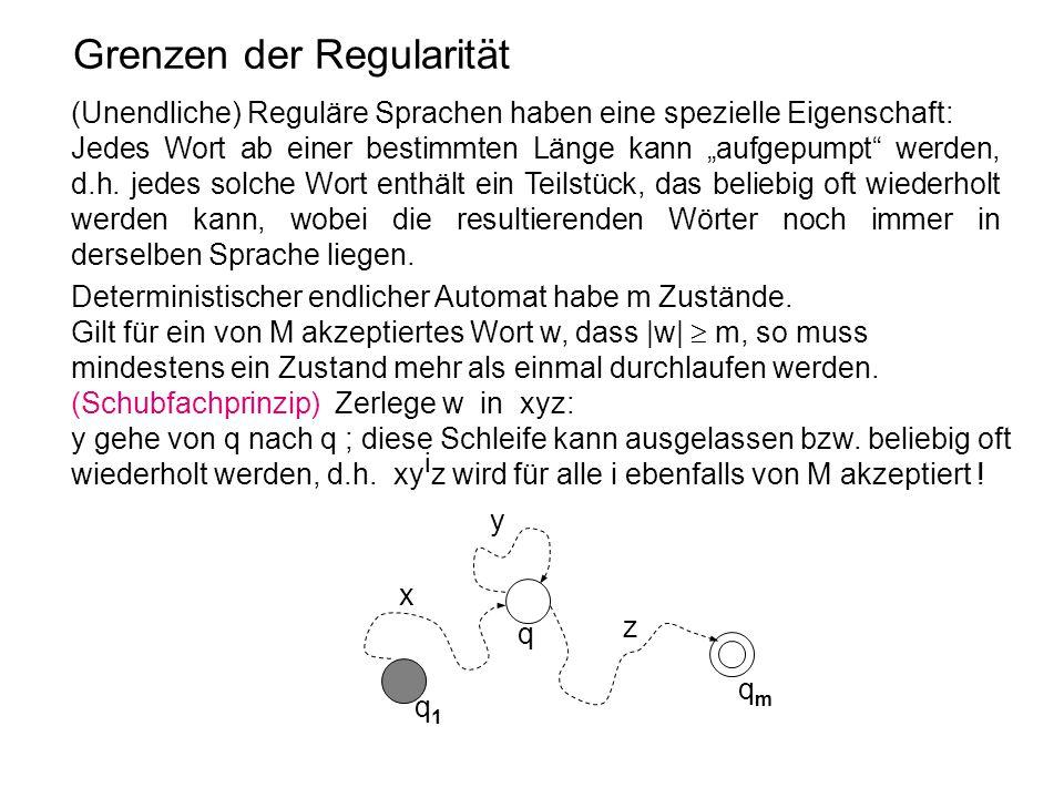 """Grenzen der Regularität (Unendliche) Reguläre Sprachen haben eine spezielle Eigenschaft: Jedes Wort ab einer bestimmten Länge kann """"aufgepumpt"""" werden"""